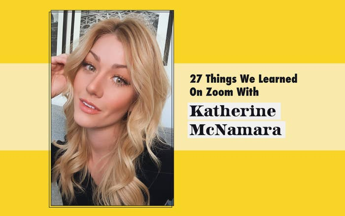 "Selfie of Katherine McNamara and header that says, ""27 Things We Learned On Zoom With Katherine McNamara"""