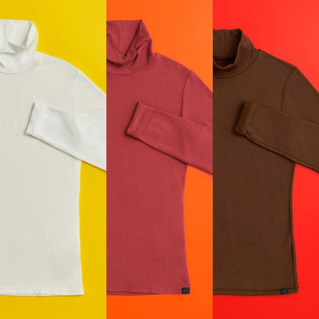 the heat-tech shirts in white, red, and brown