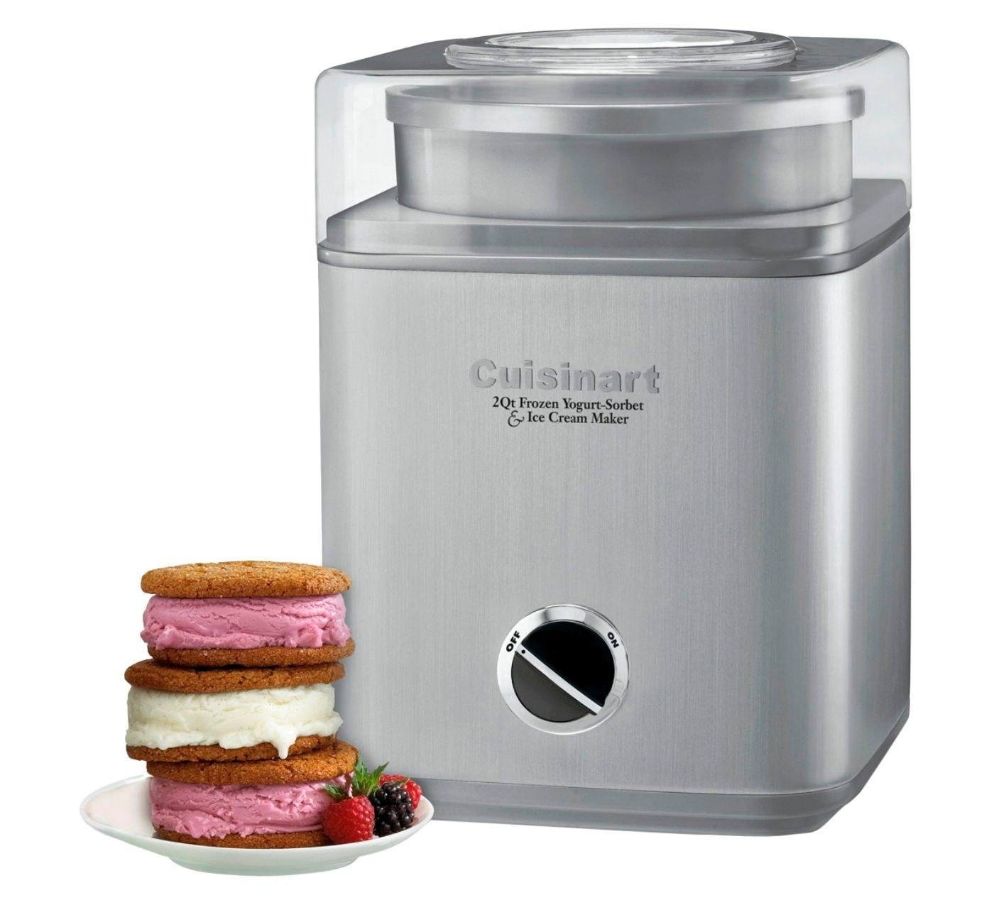 steel cuisinart ice cream, frozen yogurt, and sorbet maker