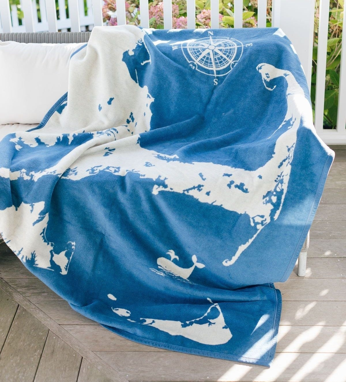 the blue blanket with Cape Cod design