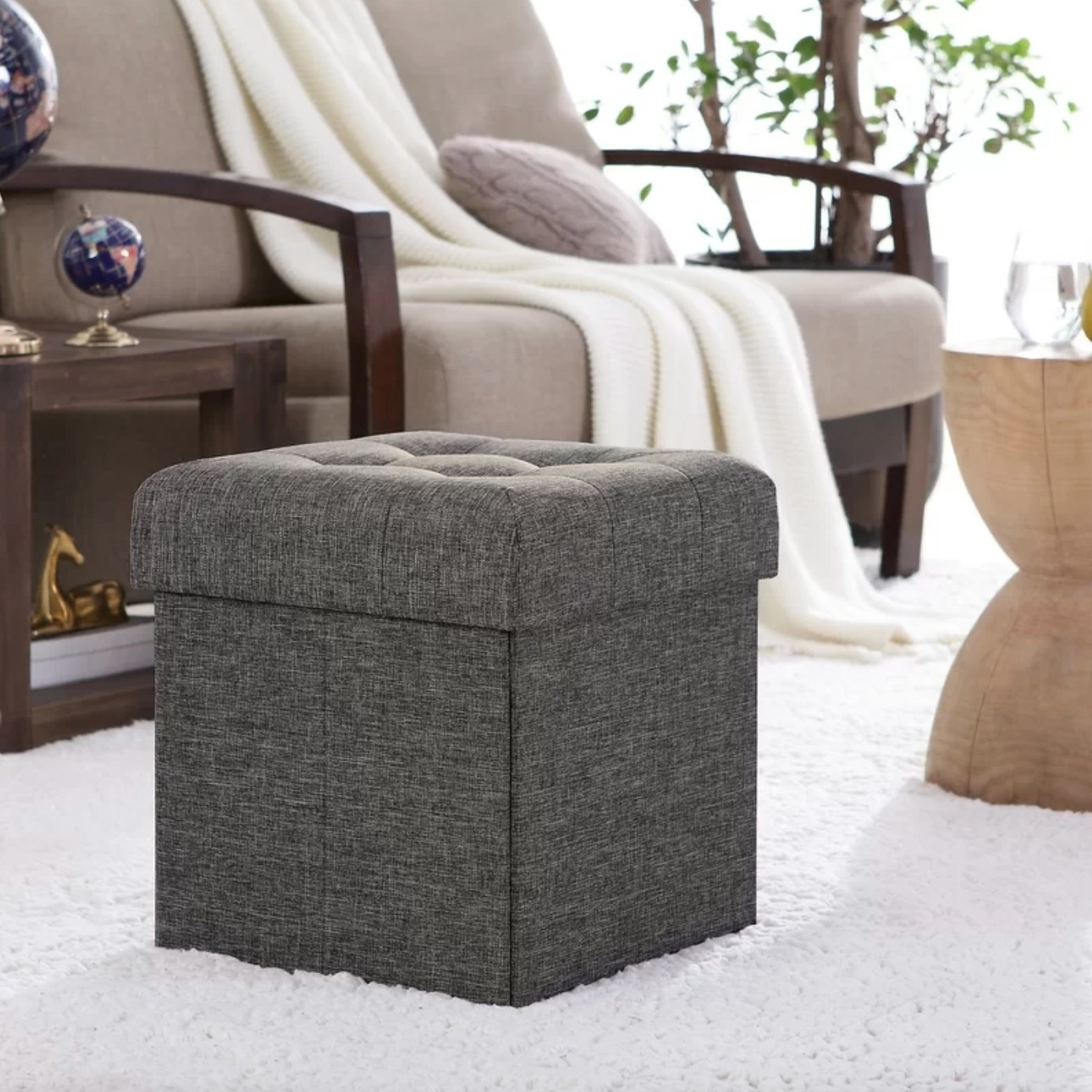 The tufted cube square in charcoal