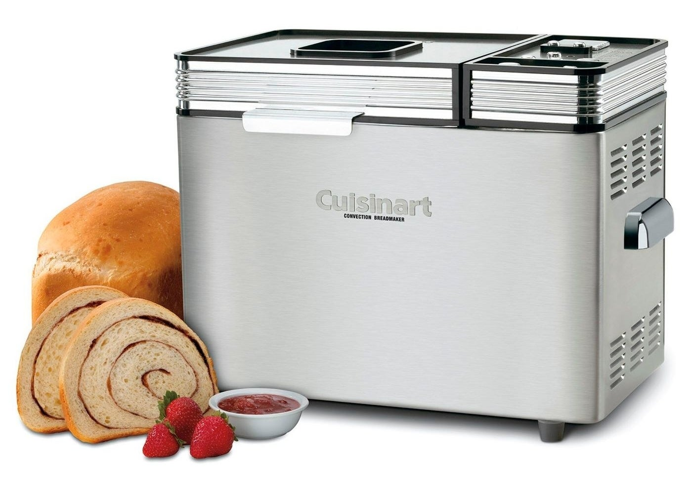 cuisinart bread maker with a swirl loaf sitting next to it