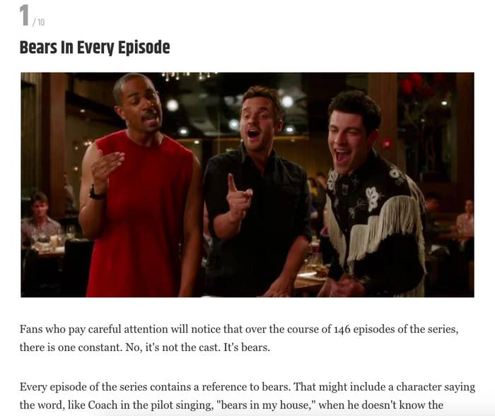 """The section of the article is called, """"Bears in Every Episode,"""""""