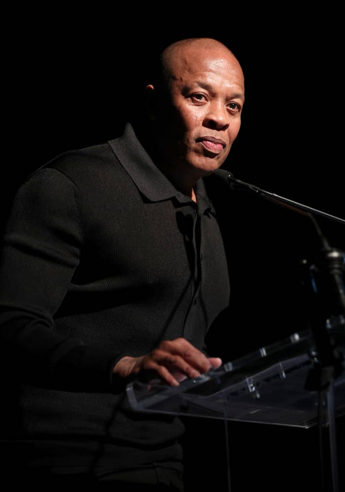 Dr. Dre speaks onstage during the Producers & Engineers Wing 13th annual GRAMMY week event honoring Dr. Dre at Village Studios on January 22, 2020 in Los Angeles, California