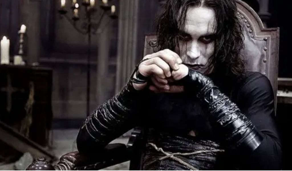 Brandon Lee in full makeup and costume as the Crow