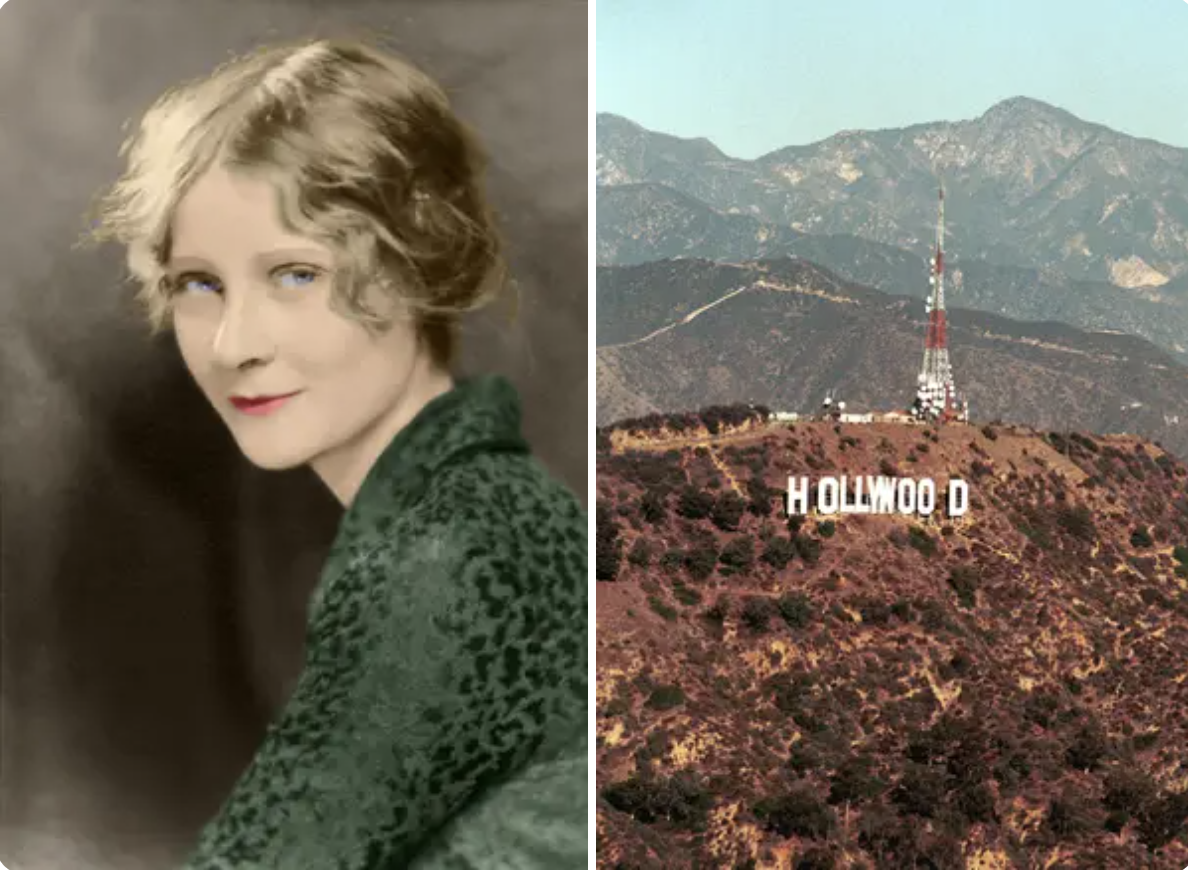An image of Peg and an old photo of the Hollywood Sign as it was
