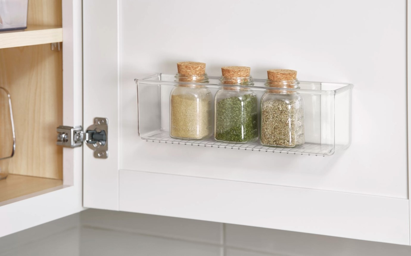 The two-piece drawer organizer set in clear plastic