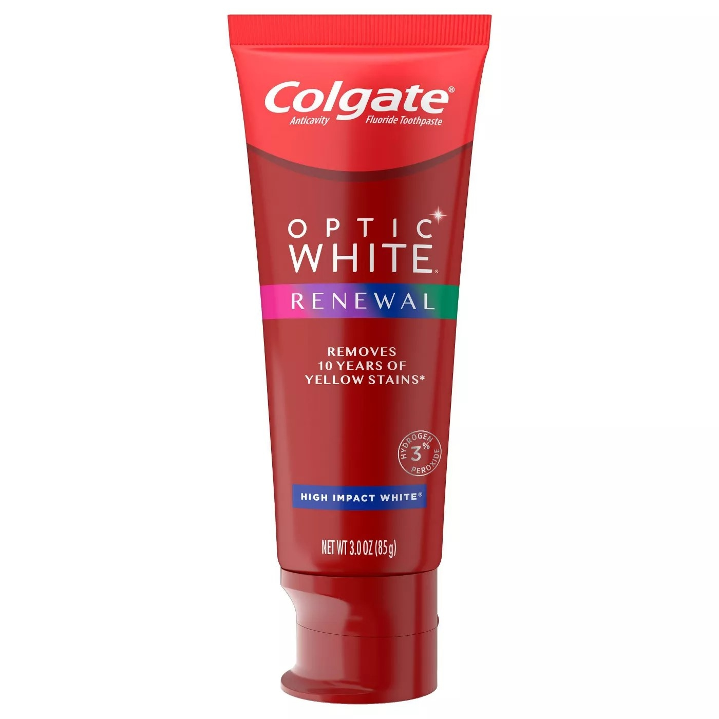 Colgate Optic White Renewal removes 10 years of yellow stains
