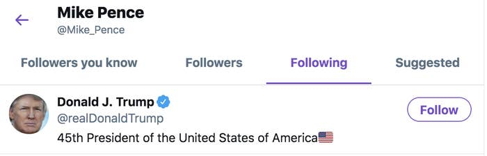 Screenshot shows Pence is following Trump on Twitter