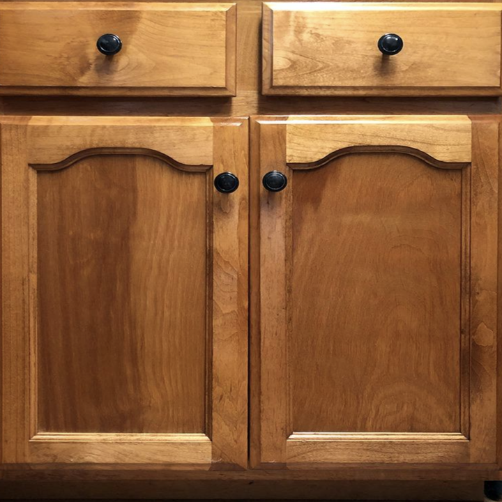 the same cabinets looking almost brand new after using the wood polish and conditioner