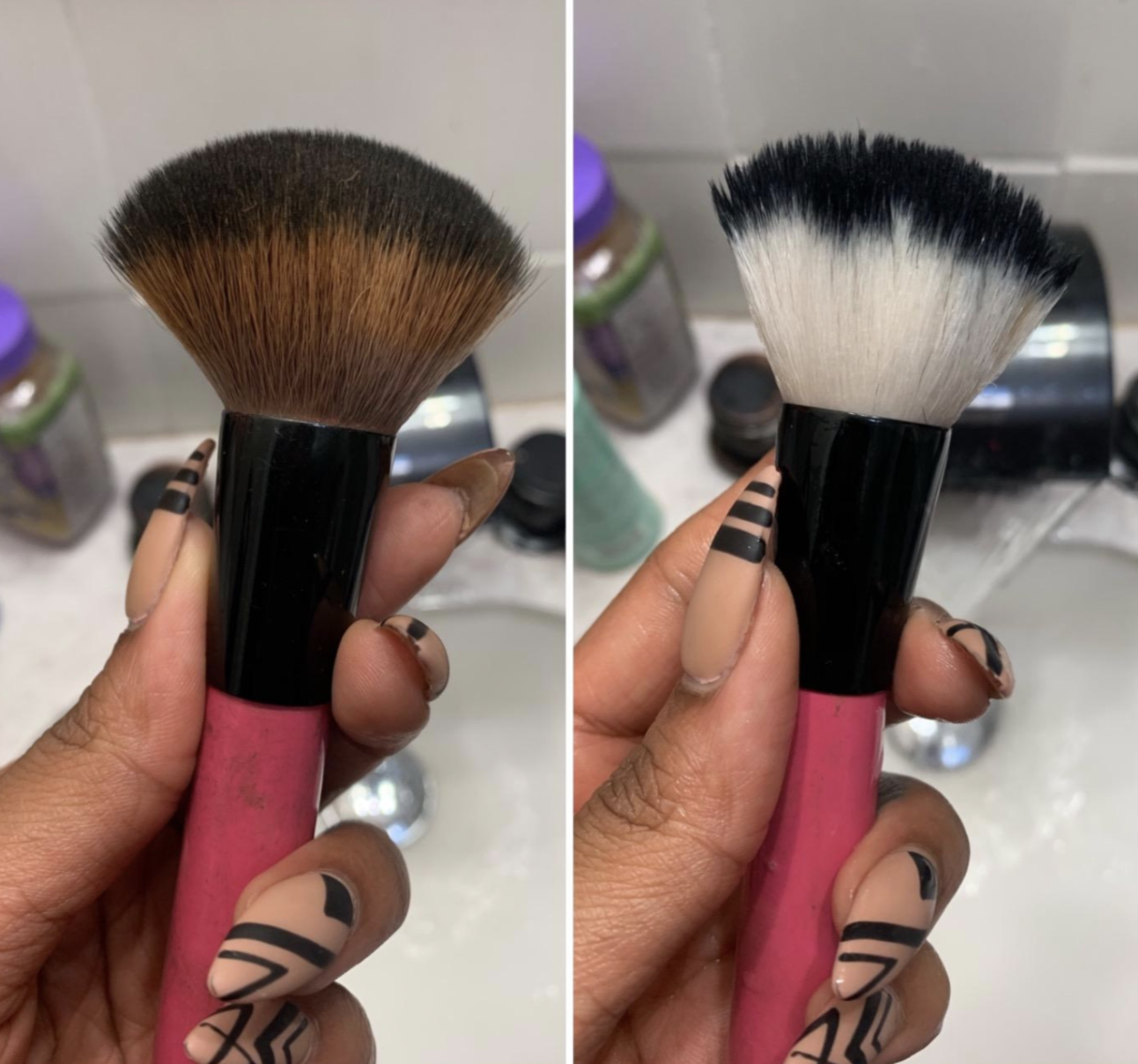 on the left, a reviewer's makeup brush looking dirty and on the right, the same cleaning brush now looking clean