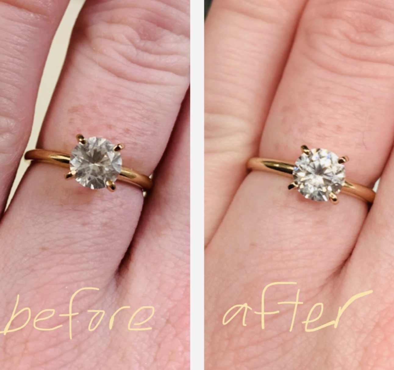 on the left, the diamond on a reviewer's ring looking fogged up, and on the right, the same diamond now looking shiny and new