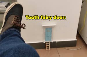 A door for the tooth fairy in a dentist's office.
