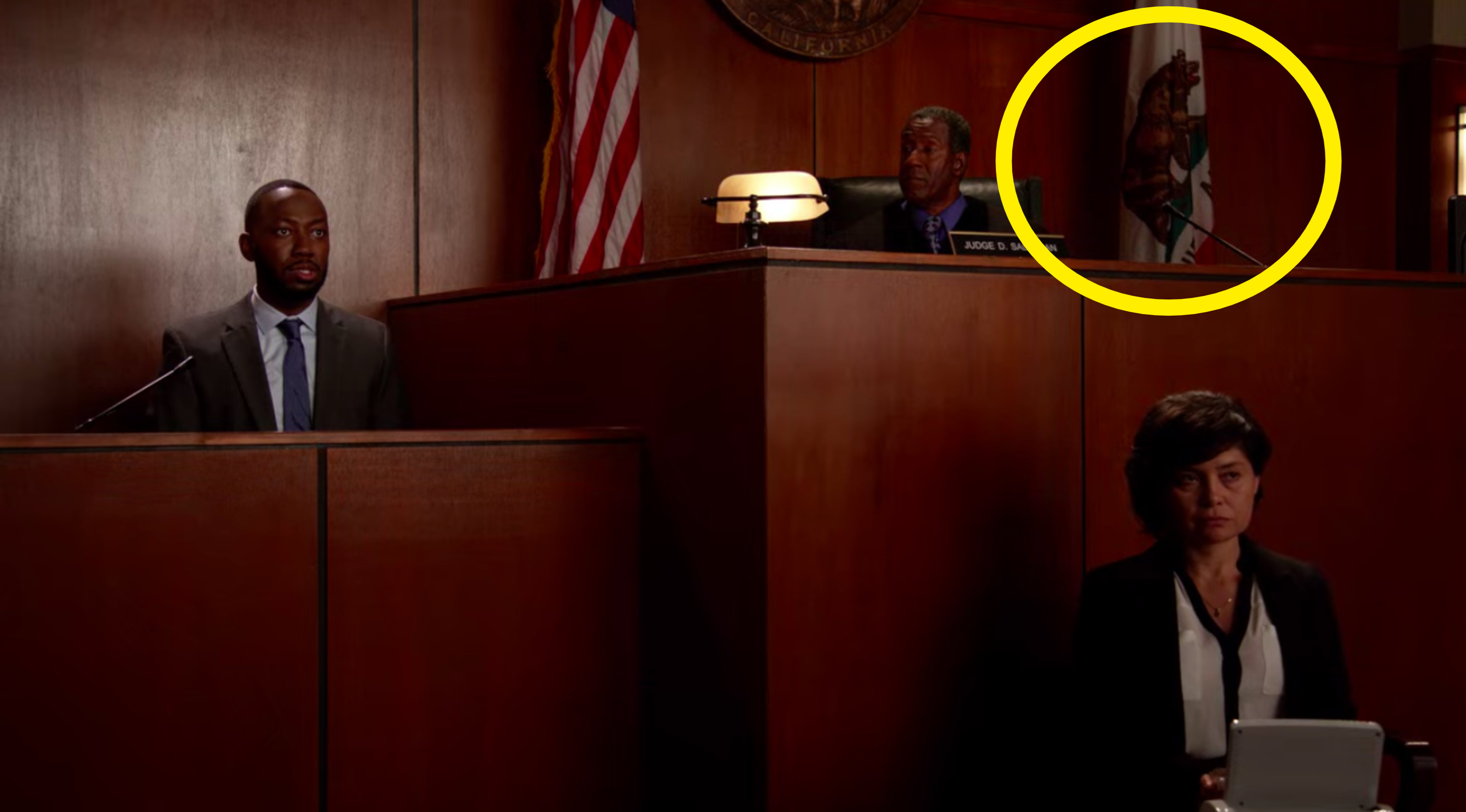 The California state flag, which has a bear on it, is in a court room
