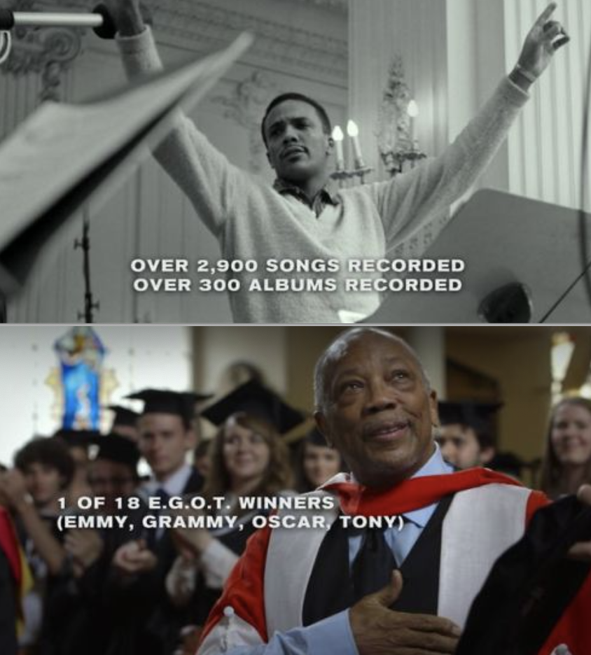 Quincy Jones in his 20s and then Quincy Jones in his 80s accepting an honorary degree