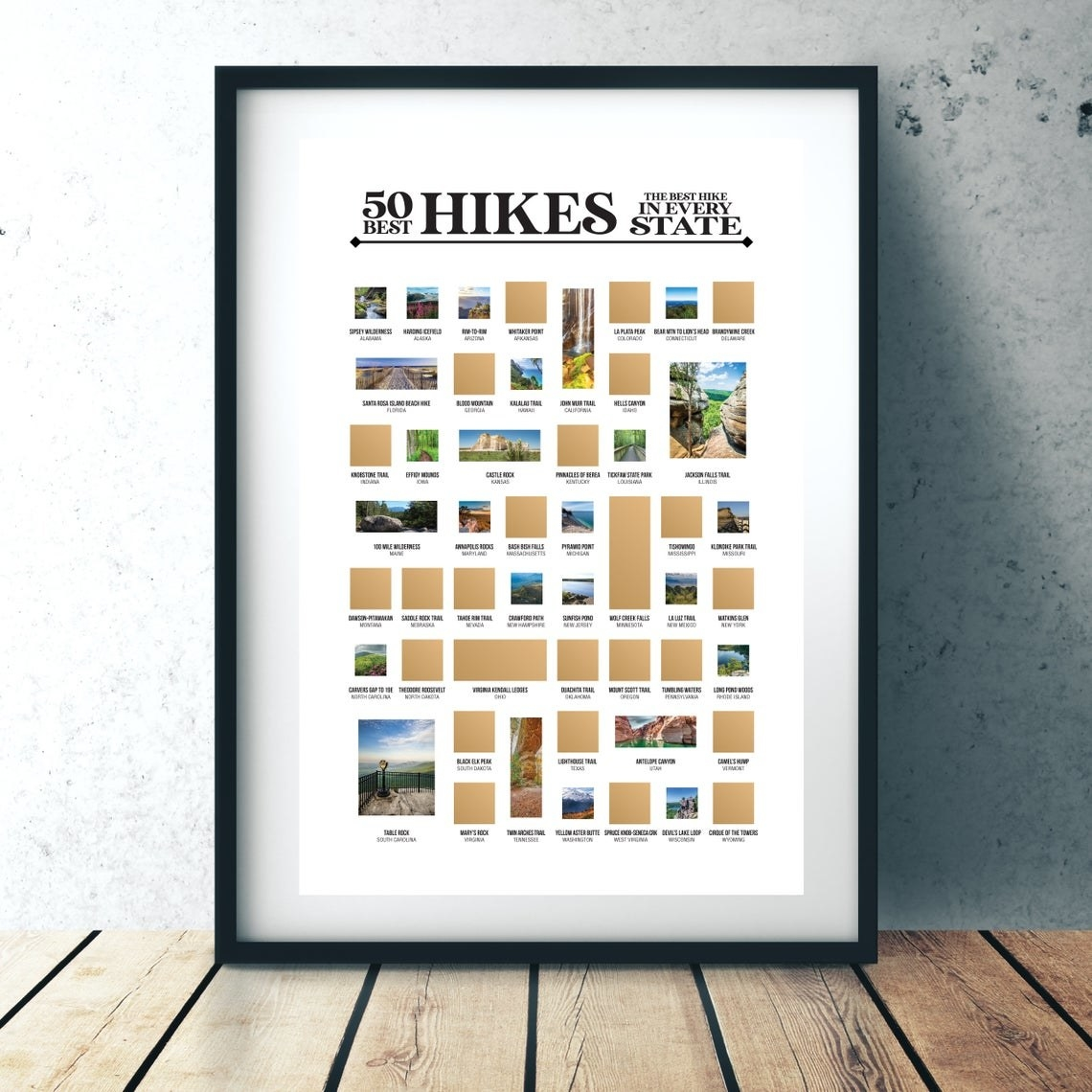 Color poster with gold scratch off material hiding images of one hike from each state