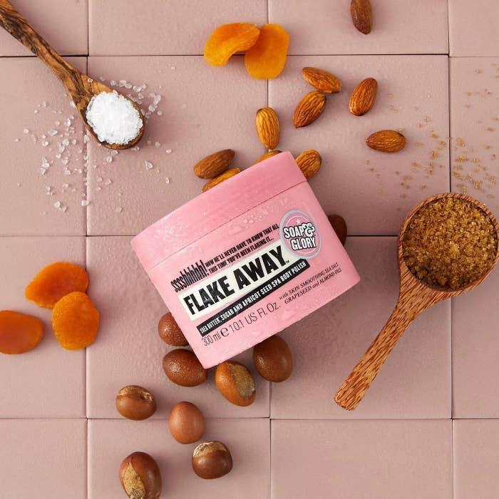 Soap & Glory Flake Away shea butter, sugar, and apricot seed spa body polish