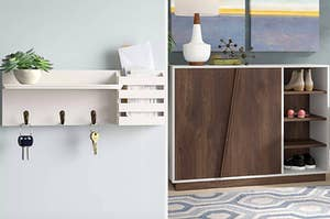 On the left, white key rack hanging on wall. On right, dark brown cabinet with shoe shelves