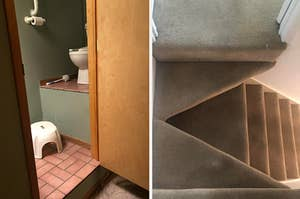 A toilet on a high step with a stool to reach it, and stairs that are angled and hard to walk on