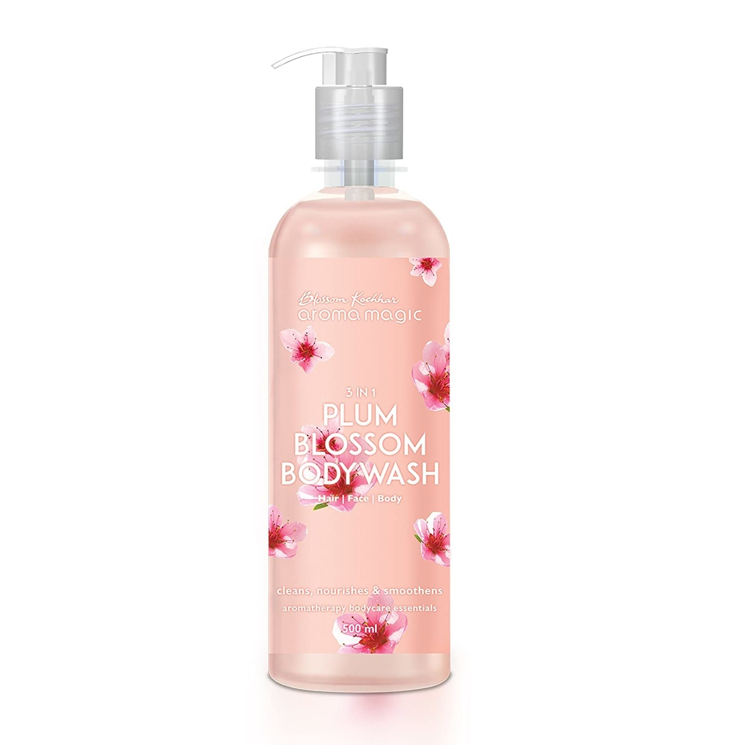 A plum body wash with flowery packaging