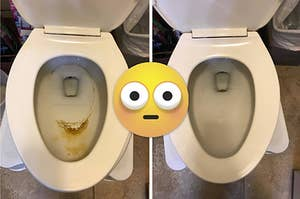 Before photo of a toilet bowl with dark brown hard water stains on the bowl and an after photo of the same bowl looking totally white and clean