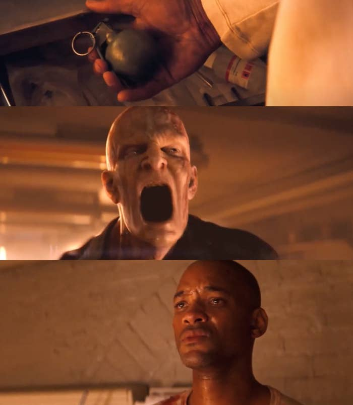 """Will Smith as Dr. Robert Neville and Mike Patton as voices of the Darkseekers in the movie """"I Am Legend."""""""