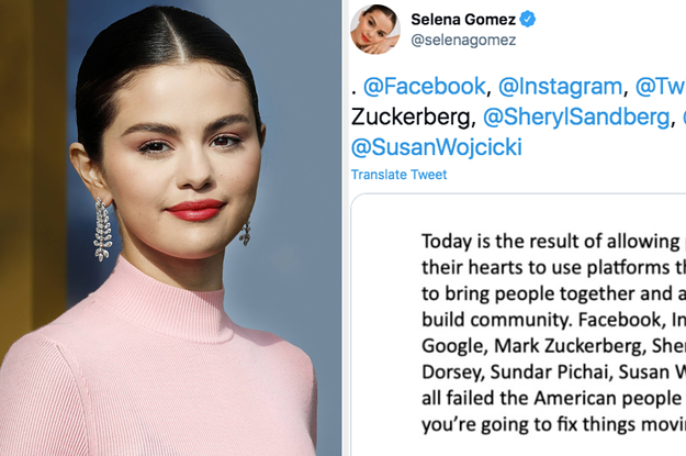 "Selena Gomez Called Out Social Media CEOs By Name And Said They've ""Failed The American People"" After The Capitol Riots"