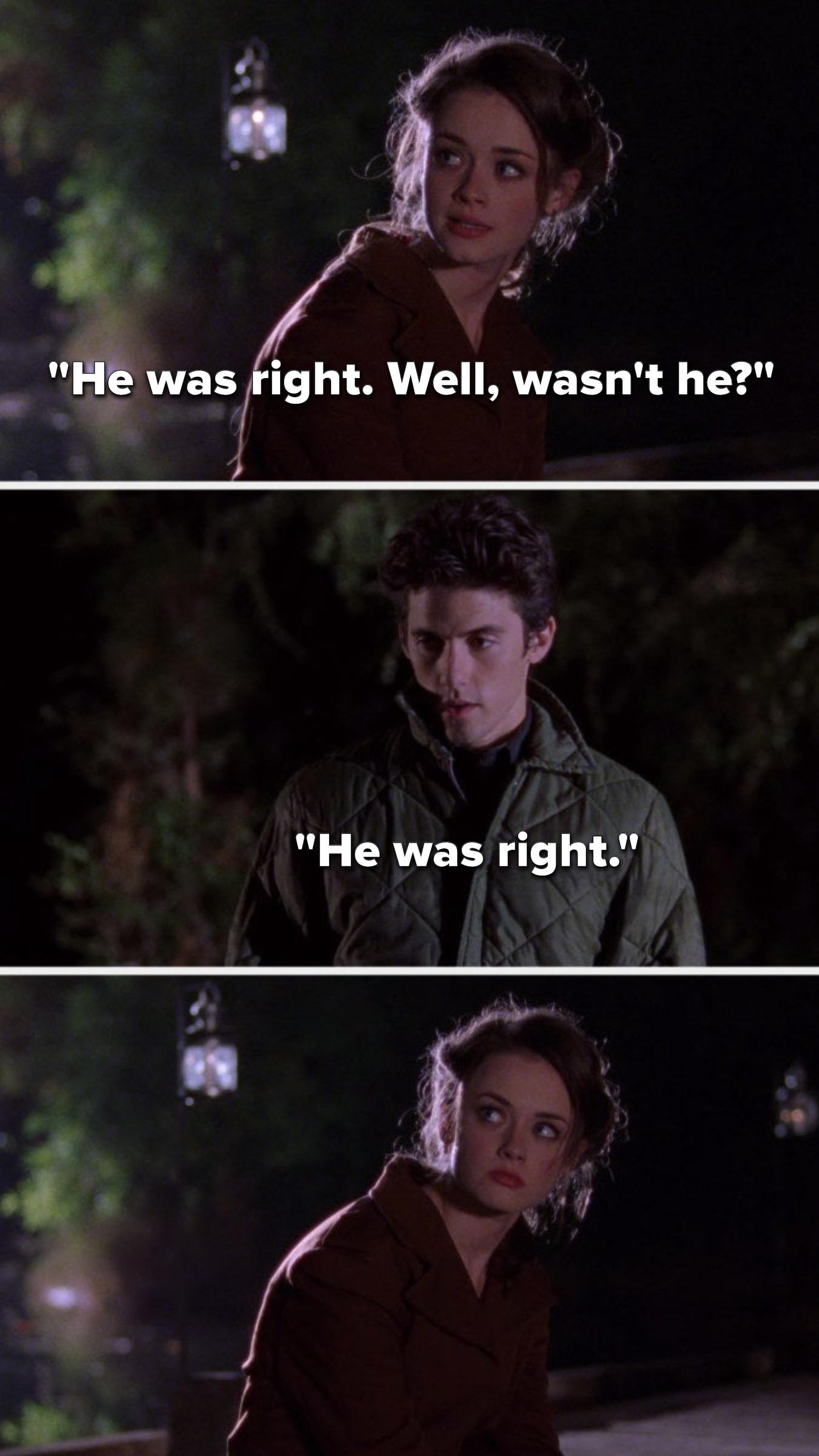 """Rory says, """"He was right, well, wasn't he,"""" and Dean says, """"He was right"""""""