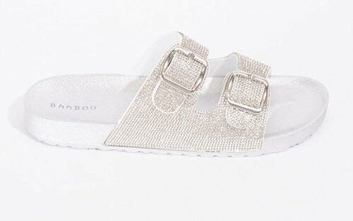 metallic dual-strap sandals