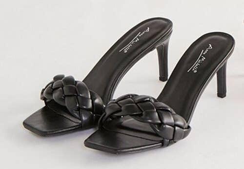 black braided square toe heels