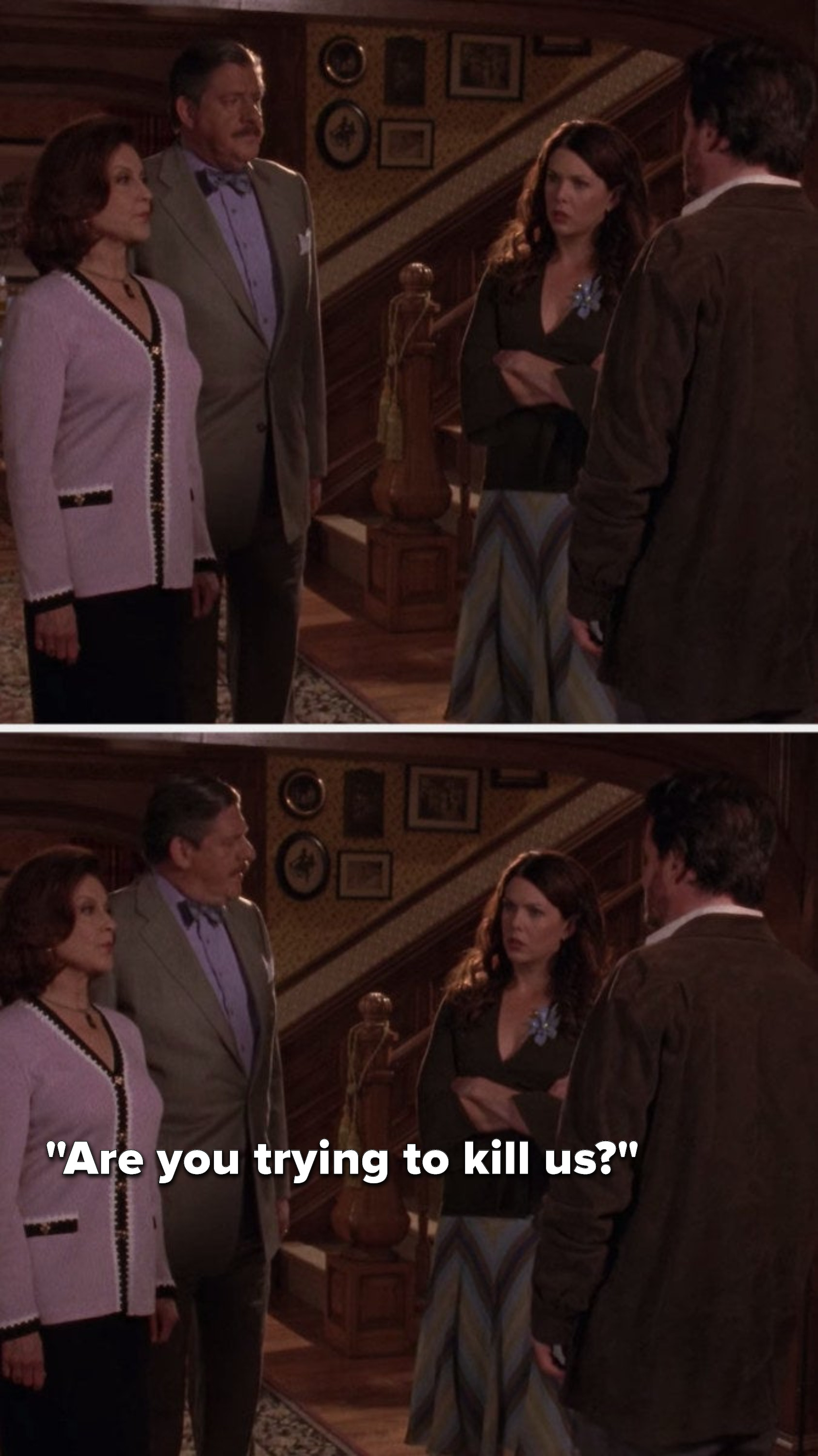 "Emily and Richard stare at Jason, and then Richard turns to Lorelai and says, ""Are you trying to kill us"""