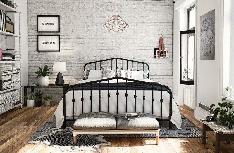Platform bed in bedroom.