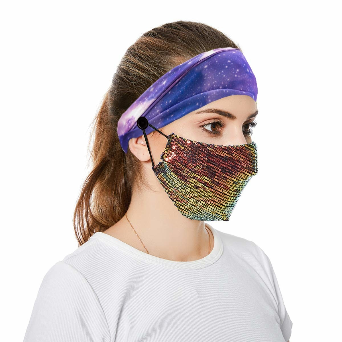Model wearing face mask attached to headband's button