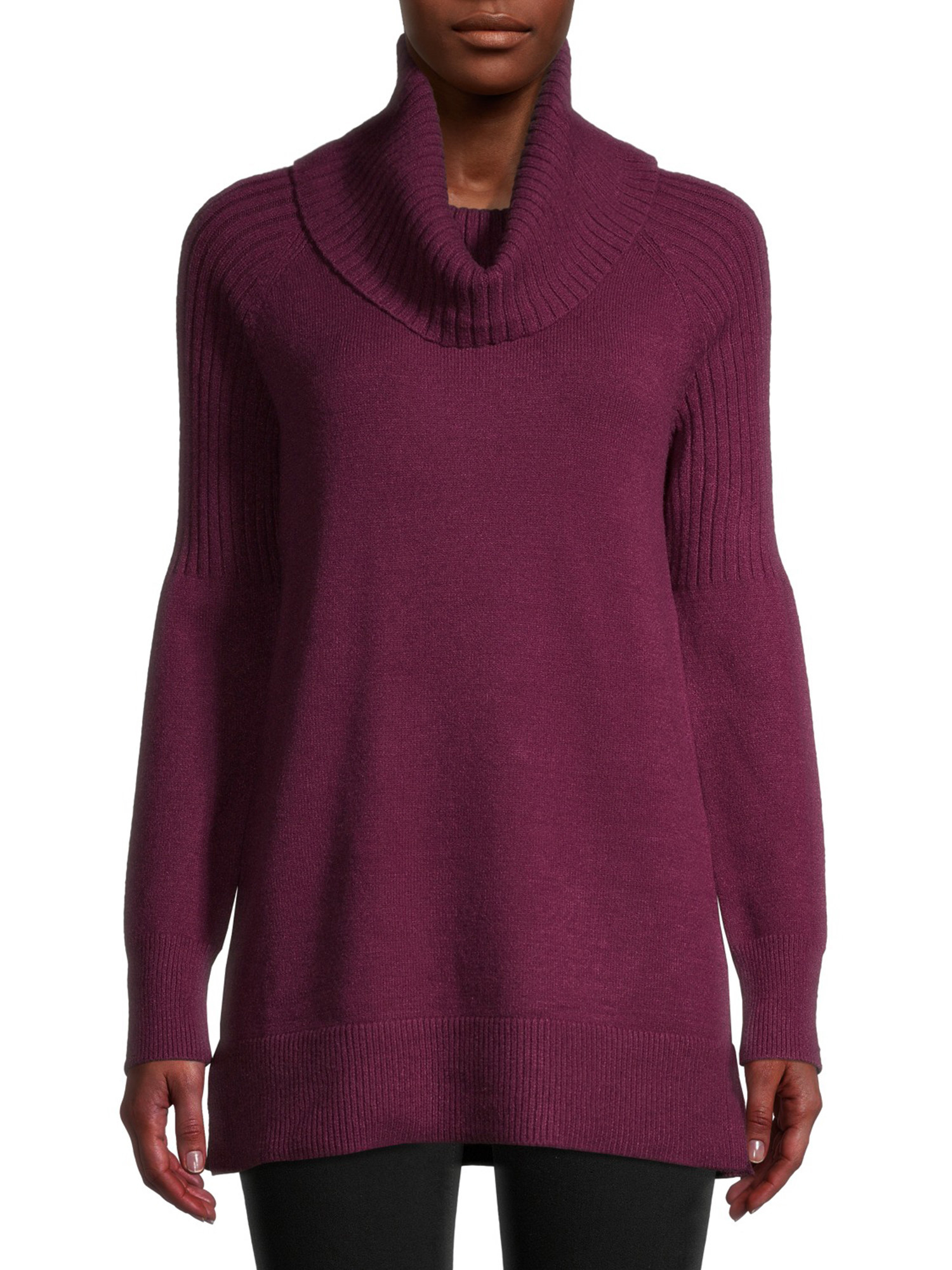 person wearing plum cowl neck sweater over black leggings