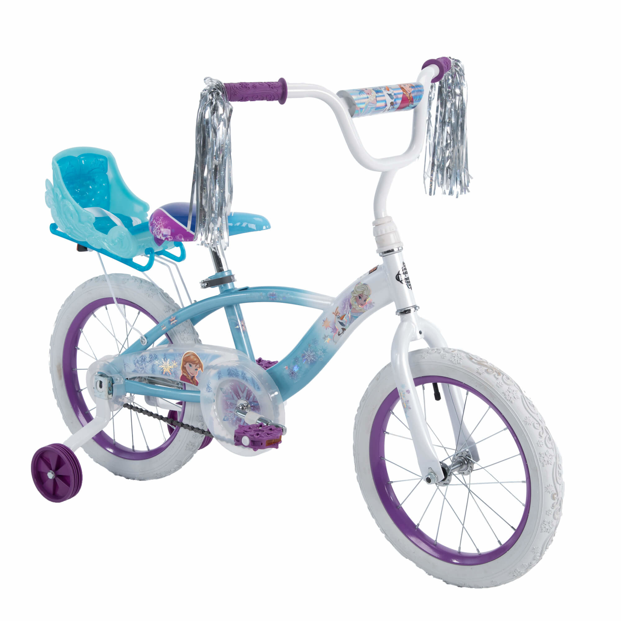 white child's bike with frozen decorations and training wheels
