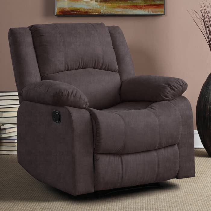 puffy brown microfiber recliner