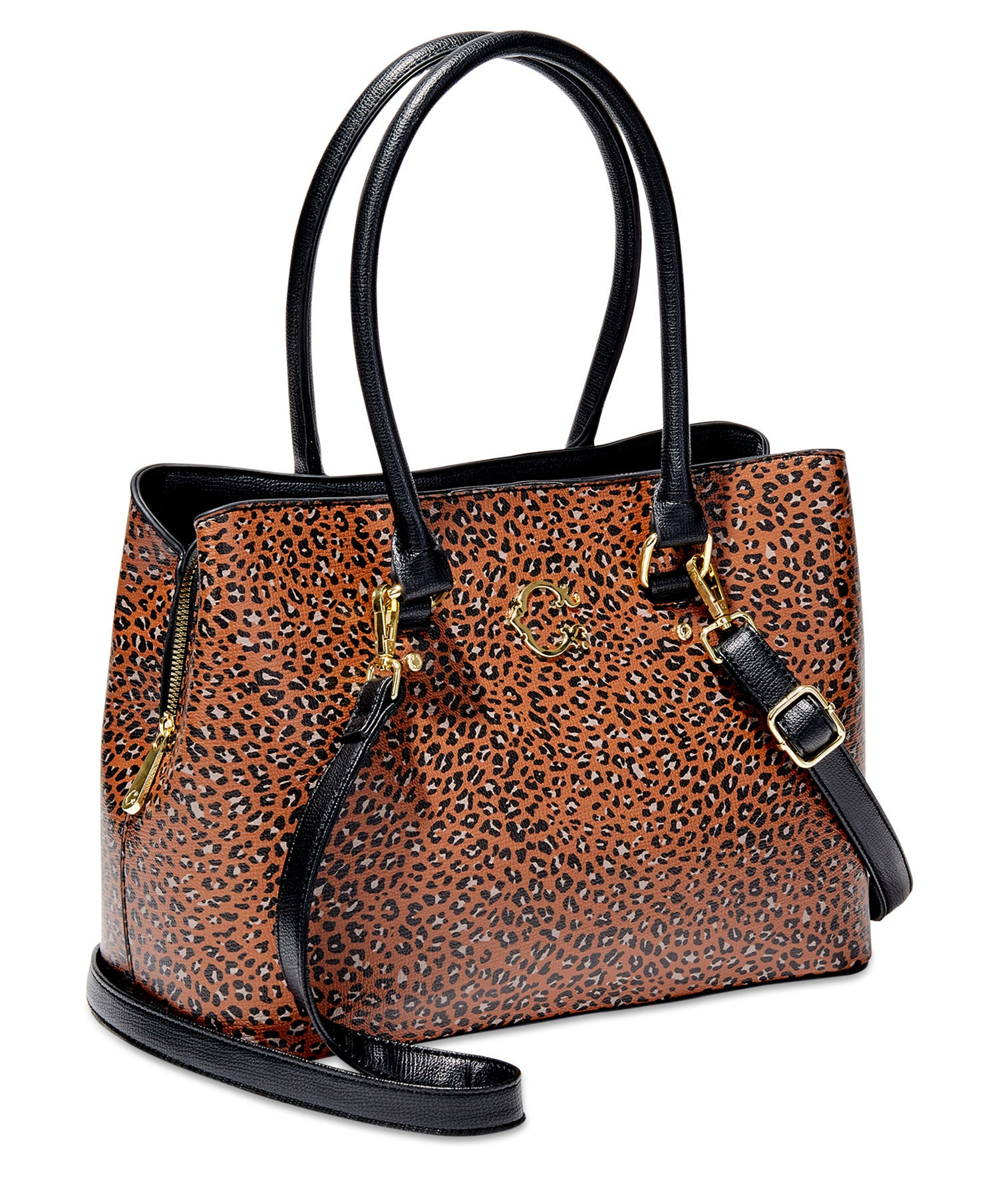 orange leopard print tote bag purse with black strap