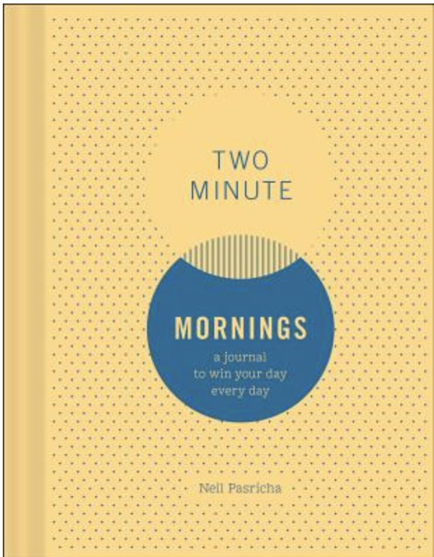 """Yellow journal that says """"Two Minute Mornings"""" on the front"""