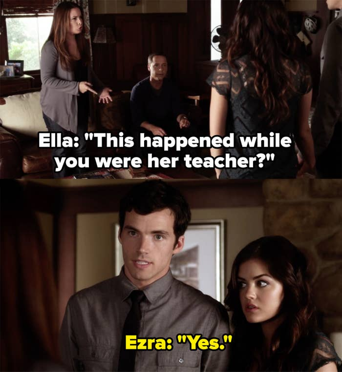 Aria's mom incredulously asks Ezra if he got together with Aria while he was her teacher