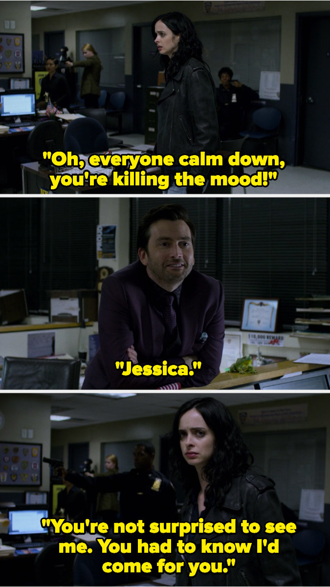 In the police station, everyone points guns at each other. Kilgrave stands to reveal himself and tells everyone to calm down, then remarks Jessica isn't surprised to see him