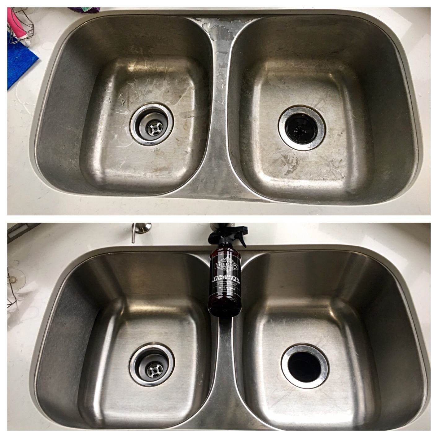 reviewer before-and-after photo showing their stainless steel sink looking brand new after using stainless steel cleaner
