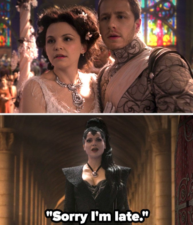 """Prince Charming and Snow look up in alarm at their wedding. The Evil Queen has entered, saying """"Sorry I'm late"""""""