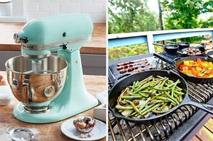 on the left a blue kitchenaid mixer and on right pans with roasted veggies