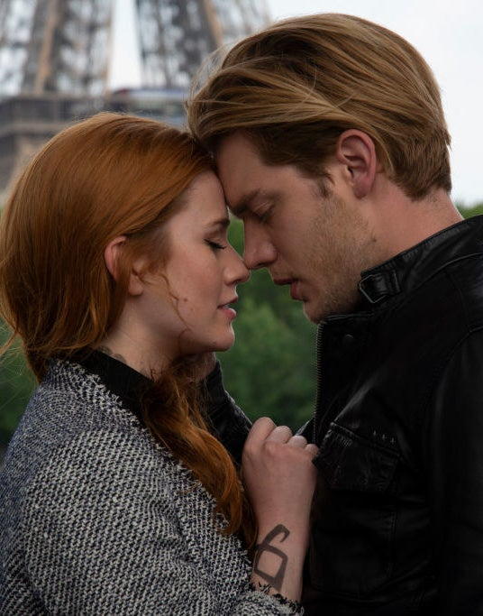 Katherine McNamara and Dominic Sherwood as Clary and Jace in Shadowhunters
