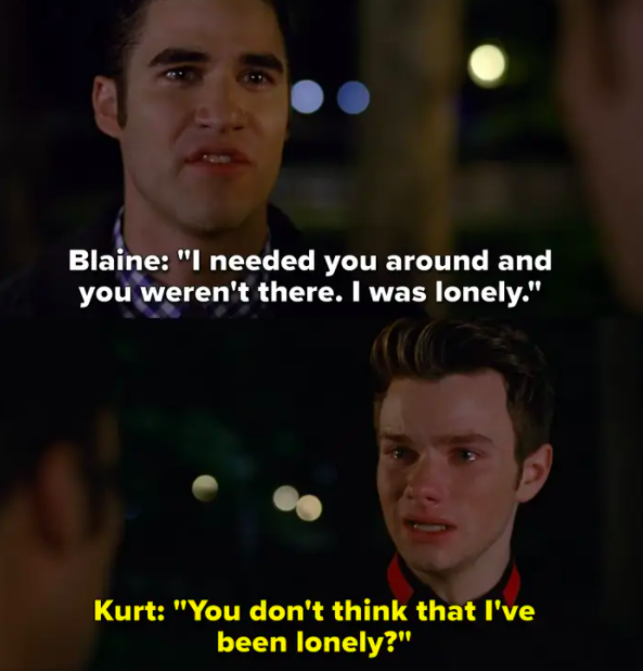 Blaine tells Kurt he cheated because he was lonely without him