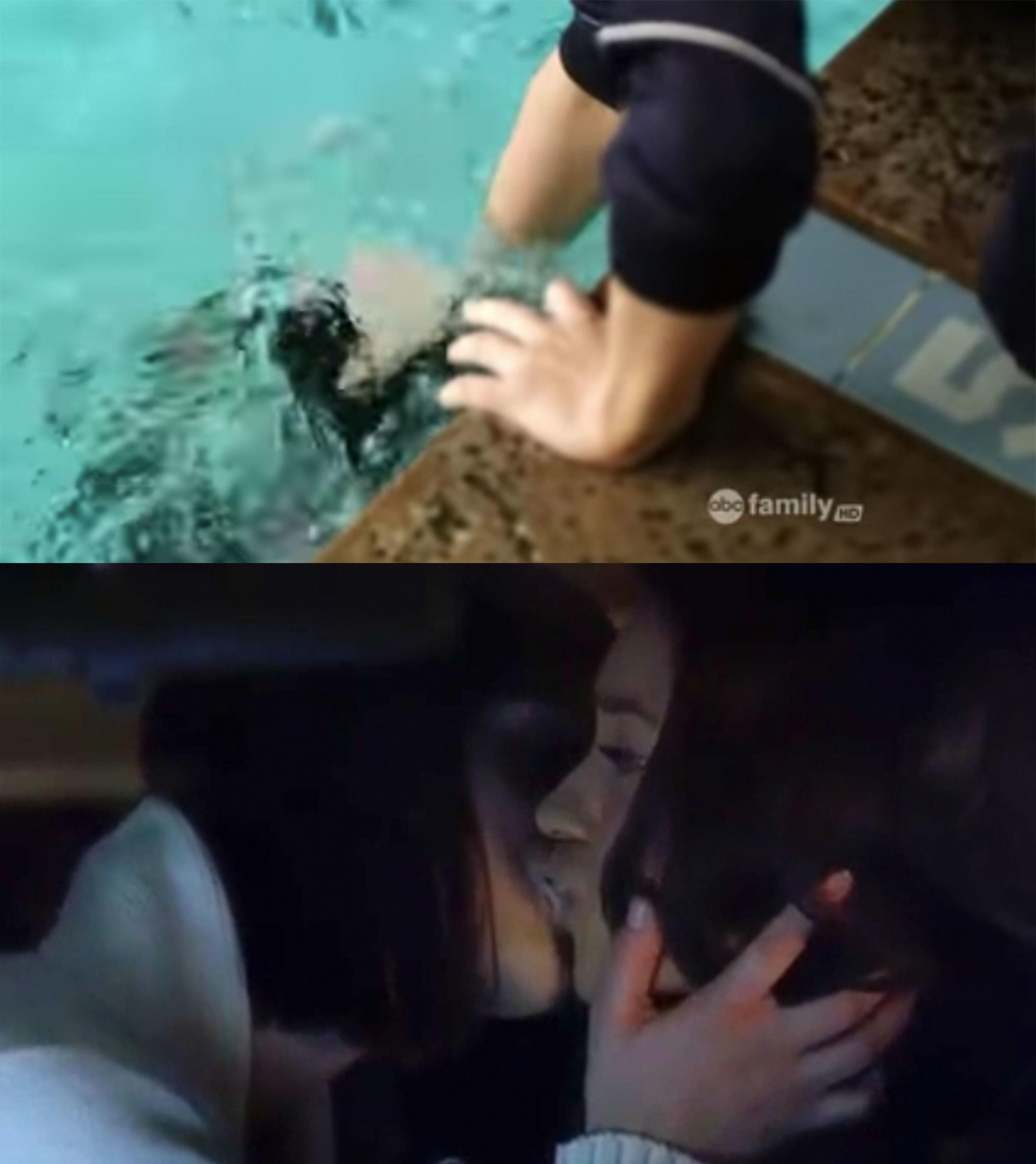 Paige shoves Emily's head under water, kisses her in the car a few episodes later