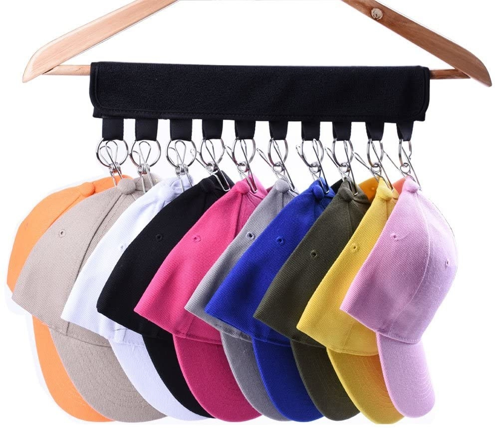 The cap organizer with 10 hats hanging