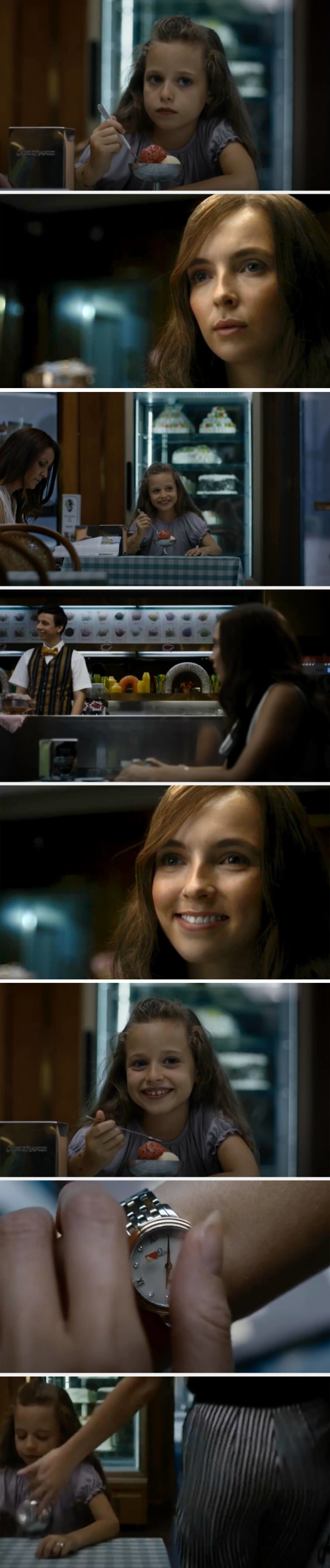 Villanelle tries to get a little girl at an ice cream shop to smile at her. Noticing she's smiling at an employee, she tries copying his smile, getting the girl to smile back. Then she cleans blood off her watch and knocks over the girl's ice cream