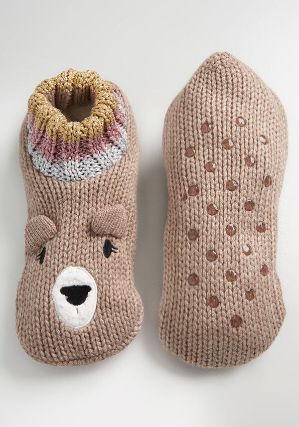 Brown slipper socks with white, yellow, and pink details