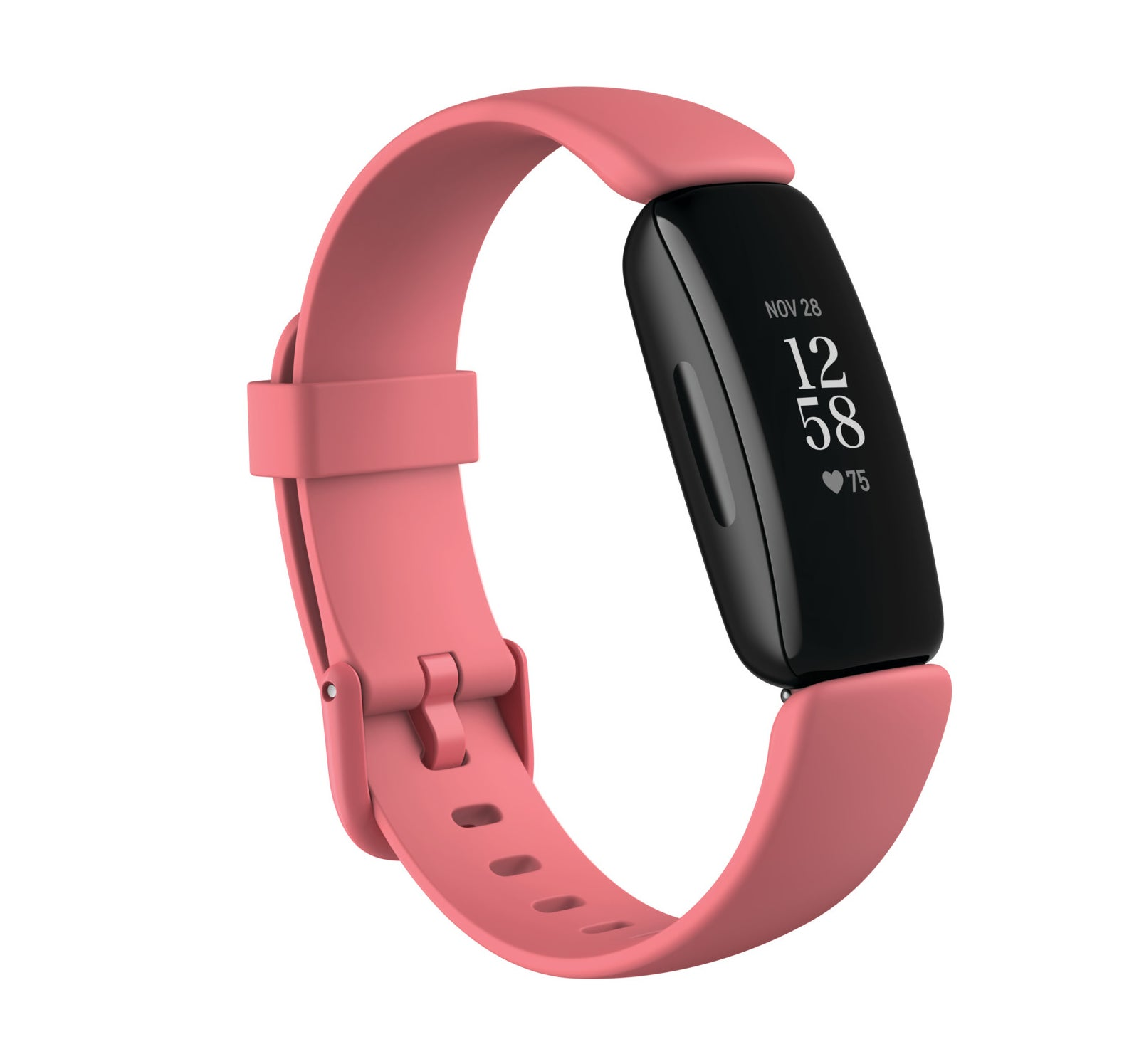 black fitbit fitness tracker with a pink band